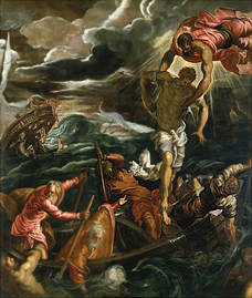 Composition example in Tintoretto's art